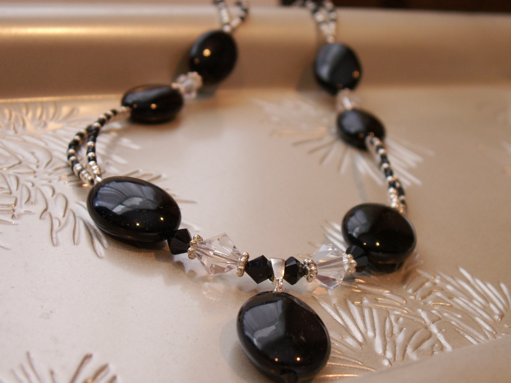 Onyx and silver sead beads